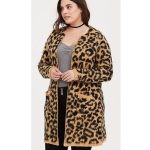 Torrid brushed leopard cardigan